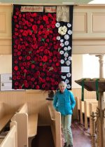 Poppies knitted to mark the centenary of the Armistice