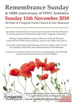 Remembrance Sunday, Craignish Parish Church, 11th Nov 2018