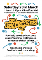 Kidz Fun & Games Day, 23rd March