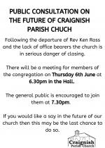Public Consultation on the future of Craignish Parish Church, 6th June