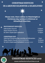 Christmas Services in and around Kilmelford & Kilninver