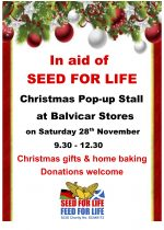 28th November: Christmas pop-up stall in aid of Seed For Life