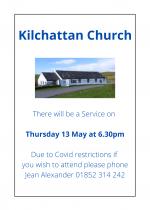 13th May, 6.30pm: Evening Reflection Service at Kilchattan Church