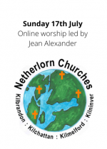 Sunday 18th July: Online worship led by Jean Alexander
